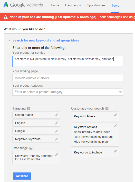 Google Keyword Planner - Step 1 - Find Relevant Search Terms